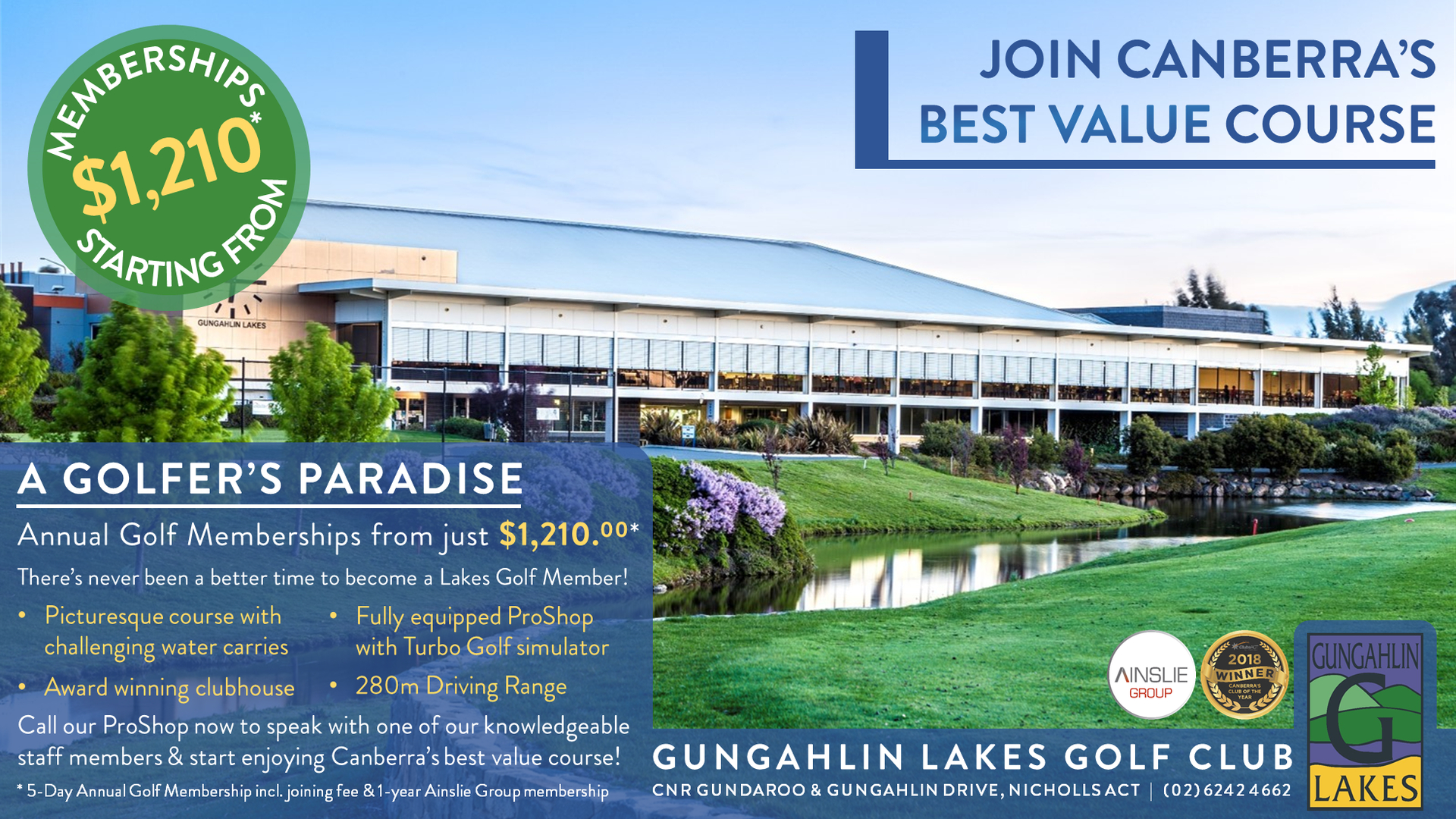 Gungahlin Lakes Golf Club Course Membership Price - City News Advertisement April 2019