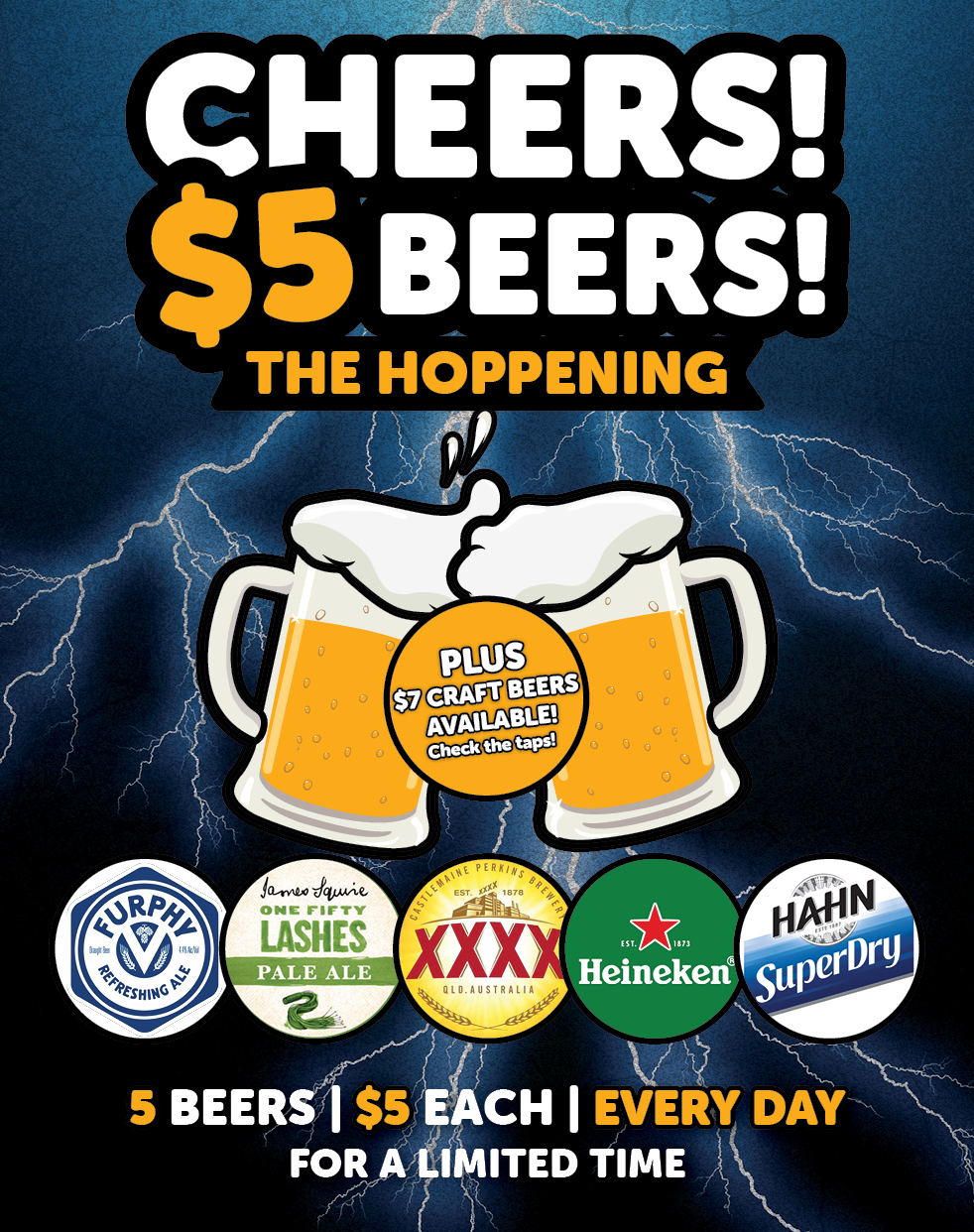 Cheers $5 Beers The Hoppening at Gungahlin Lakes and Ainslie Football Club